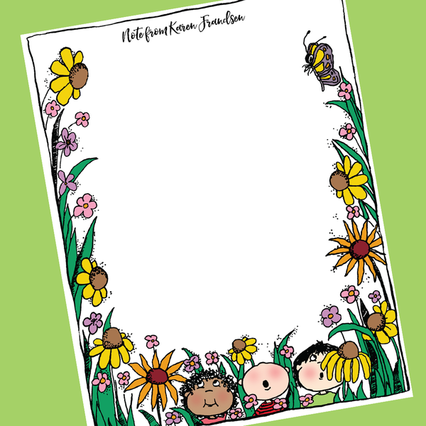 Sample notepad made with a colorful flower clipart border.