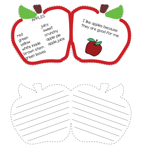 Apple shape cards with writing samples.
