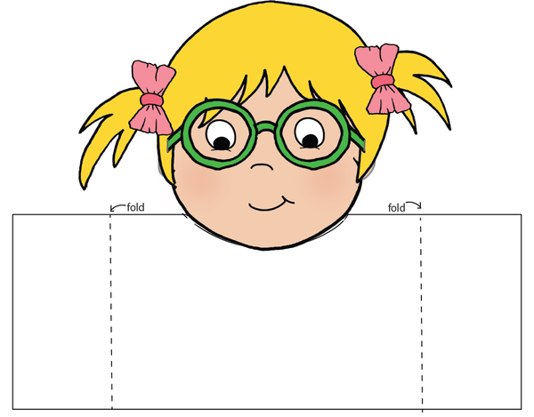 Sample of Hugs by Mail card with the head glued in place and fold lines.