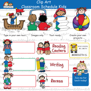 CLASSROOM SCHEDULE KIDS CARDS examples; colorful individual images, kids holding blank signs to fill in, ready to use cards (Karen's Kids Clipart)
