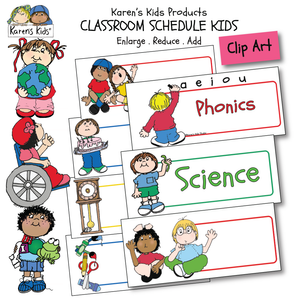 CLASSROOM SCHEDULE KIDS CARDS examples: colorful images with blank signs to fill in, ready to use cards (Karen's Kids Clipart)