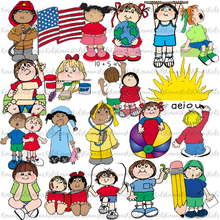 Load image into Gallery viewer, CLASSROOM SCHEDULE KIDS CARDS examples: colorful individual clipart images (Karen's Kids Clipart)