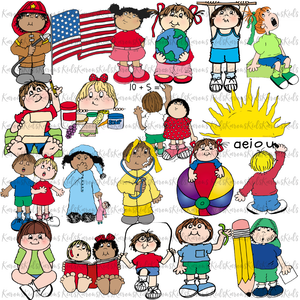 CLASSROOM SCHEDULE KIDS CARDS examples: colorful individual clipart images (Karen's Kids Clipart)
