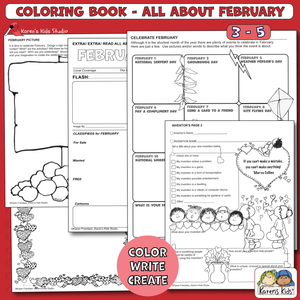 COLORING BOOK FOR FEBRUARY (Karen's Kids Printables)