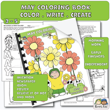 Load image into Gallery viewer, Color Activity Book for May (Karen's Kids Printables)