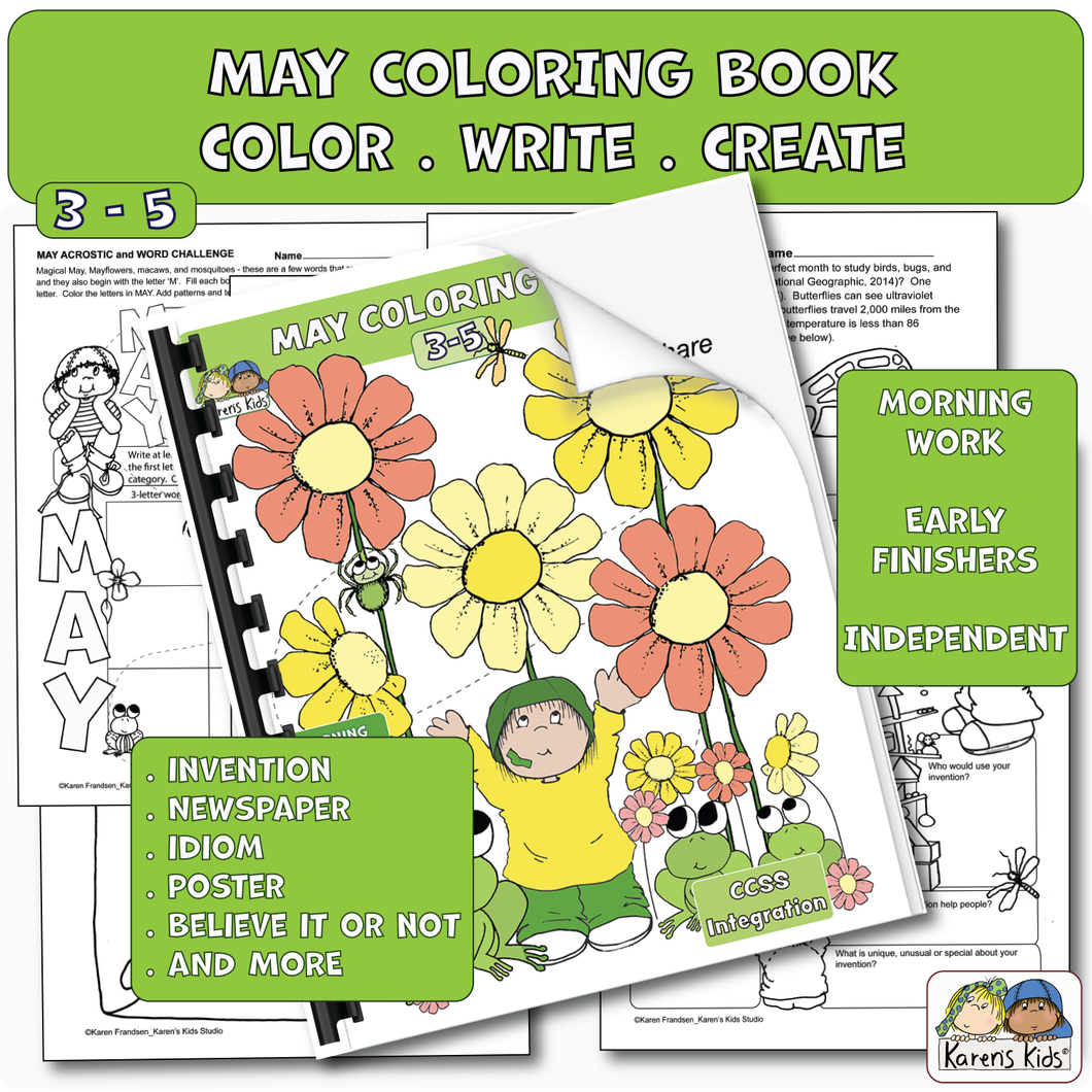 Color Activity Book for May (Karen's Kids Printables)