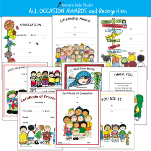 Colorful award samples: Appreciation Award, Citizenship Award, Completion Award, Fantastic - Terrific Award, Helping Hands Award, Just a Note, Promotion Certificate, Thank You Message, Well Done Matey, You Did It Recognition