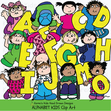 Load image into Gallery viewer, Full color samples of clipart illustrations with large yellow alphabet letters; clip art girl in pink holding the letter A, boy picking up the letter B, boy jumping and holding the letter D, from Karen's Kids Clipart Alphabet Kids
