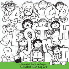 Load image into Gallery viewer, Black and white clip art samples of kids holding letters of the alphabet from Karen's Kids Alphabet Kids Clipart set.