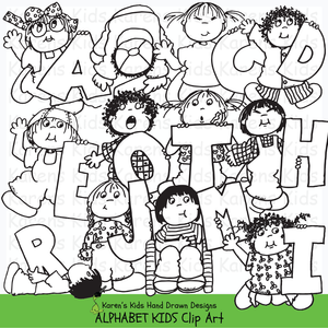 Black and white clip art samples of kids holding letters of the alphabet from Karen's Kids Alphabet Kids Clipart set.