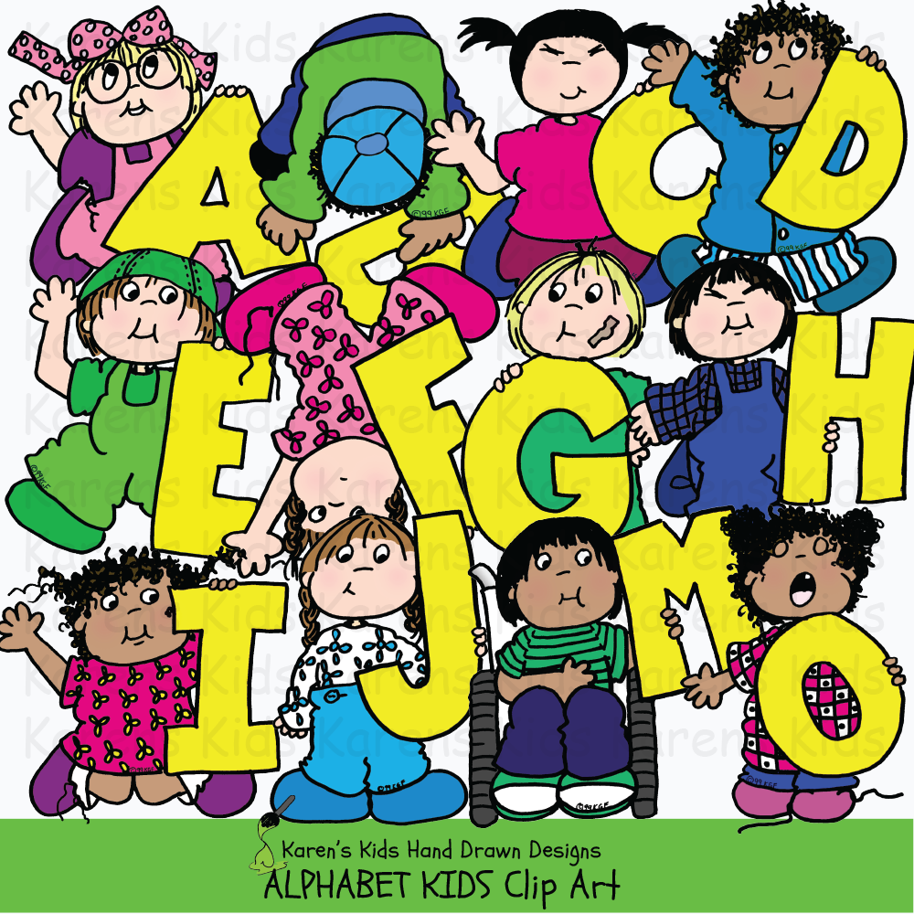 Full color samples of clipart illustrations with large yellow alphabet letters; clip art girl in pink holding the letter A, boy picking up the letter B, boy jumping and holding the letter D, from Karen's Kids Clipart Alphabet Kids