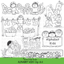 Load image into Gallery viewer, Black and white clip art samples of kids holding letters of the alphabet; 2 children in a row of capital letters, a clothesline with letters, 3 kids holding a sign that says ALPHABET KIDS.