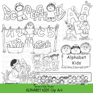 Black and white clip art samples of kids holding letters of the alphabet; 2 children in a row of capital letters, a clothesline with letters, 3 kids holding a sign that says ALPHABET KIDS.