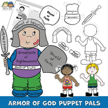 Load image into Gallery viewer, Child dressed in Armor of God and examples of puppet cut outs that kids can use to make their own puppet.