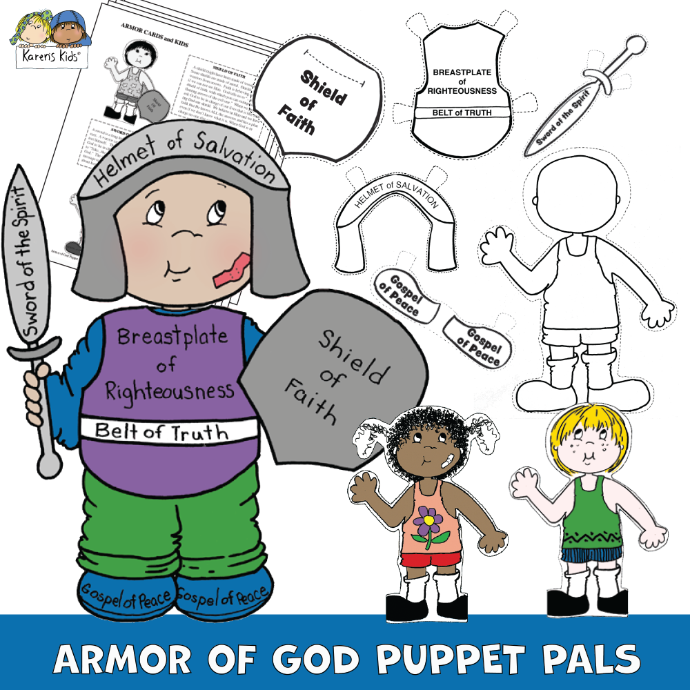 Child dressed in Armor of God and examples of puppet cut outs that kids can use to make their own puppet.