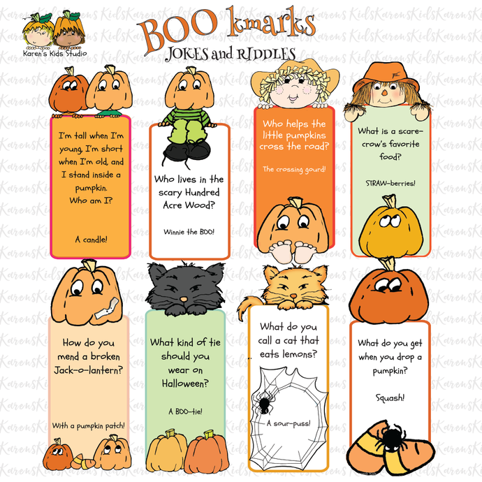 Free OCTOBER BOOkmarks (Karen's Kids Printables)
