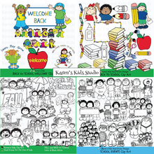 Load image into Gallery viewer, BACK to SCHOOL Clipart BUNDLE (Karen's Kids Clipart)