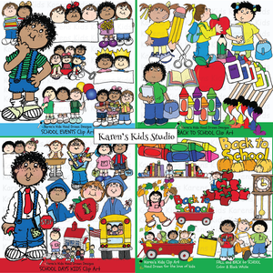 BACK to SCHOOL Clipart BUNDLE (Karen's Kids Clipart)