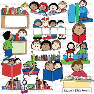Color clipart samples of  kids in the library, library books and more.