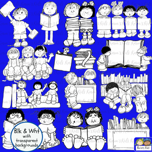 Black and white clipart samples of kids and books.