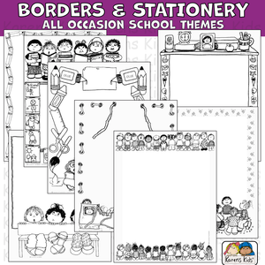 Borders and stationery clipart for all occasions and school in color and black and white.