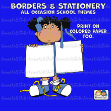 Load image into Gallery viewer, Sample of borders and stationery clipart set on colored background.