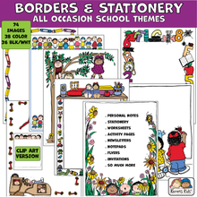 Load image into Gallery viewer, Colorful Borders and Stationery clipart for all occasions and school.