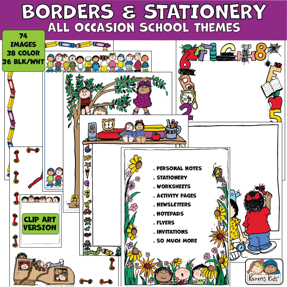 Colorful Borders and Stationery clipart for all occasions and school.