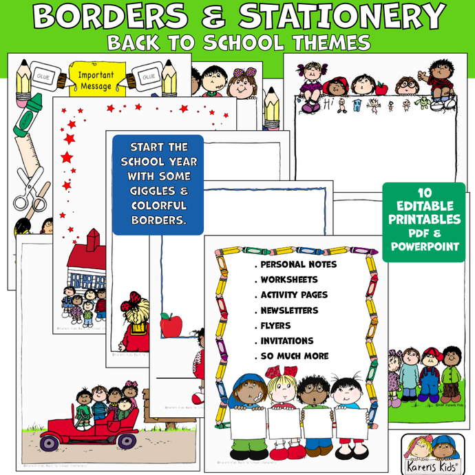 Colorful borders and stationary for back to school and more.