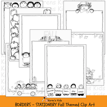 Load image into Gallery viewer, Samples of black, white clipart BORDERS; Fall Borders, stationery (Karen's Kids Clipart)
