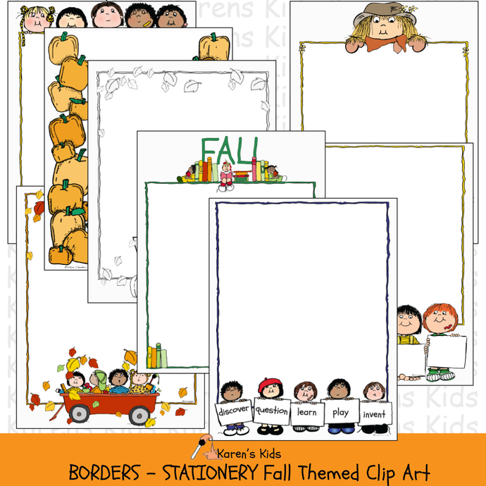 Samples of colorful, clipart BORDERS; Fall Borders, stationery (Karen's Kids Clipart)