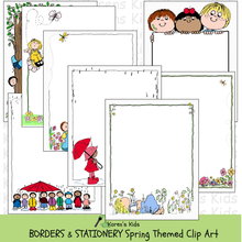 Load image into Gallery viewer, Samples of colorful, clipart Spring BORDERS and stationery (Karen's Kids Clipart)