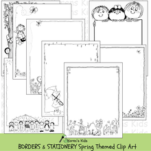 Load image into Gallery viewer, Samples of black and white, clipart Spring BORDERS and stationery (Karen's Kids Clipart)