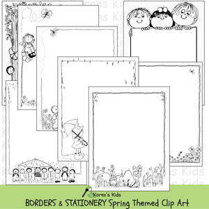 Samples of black and white, clipart Spring BORDERS and stationery (Karen's Kids Clipart)