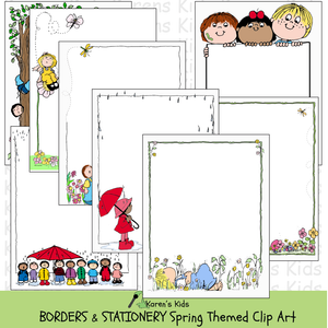 Samples of colorful, clipart Spring BORDERS and stationery (Karen's Kids Clipart)