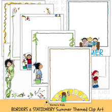 Load image into Gallery viewer, Samples of colorful, clipart Summer BORDERS and stationery (Karen's Kids Clipart)
