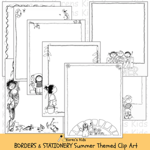 Samples of black, white clipart Summer BORDERS and stationery (Karen's Kids Clipart)