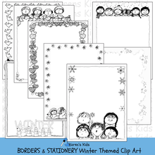 Load image into Gallery viewer, BORDERS Winter Themed Clipart Borders (Karen's Kids Clipart)