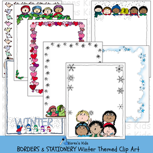 Samples of Winter themed clip art borders; snowflakes, Christmas carolers, snowmen and lots more.