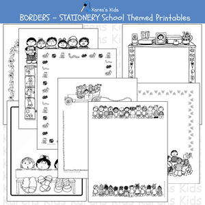 Samples of black, white BORDERS; All Occasion School Themed Borders (Karen's Kids Editable Printables)