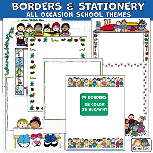 Samples of colorful BORDERS; All Occasion School Themed Borders for teachers, parents and students.