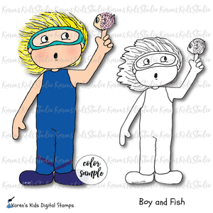 Digital Stamp Boy and Fish