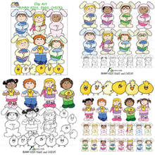 Load image into Gallery viewer, Bunny Kids, Chicks and Eggs Clipart (Karen's Kids Clipart)