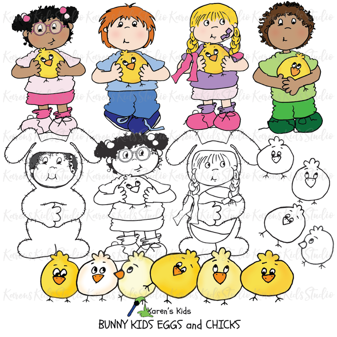 Bunny Kids, Chicks and Eggs Clipart (Karen's Kids Clipart)