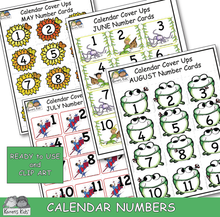 Load image into Gallery viewer, Calendar number card samples for May, June, July, August. Clip art and Ready to Use.