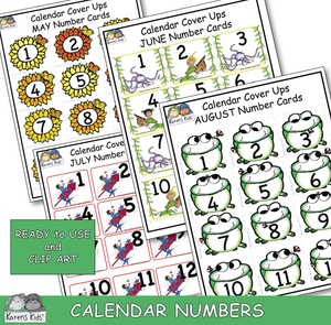 Calendar number card samples for May, June, July, August. Clip art and Ready to Use.
