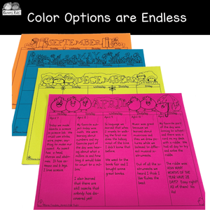 4 samples of black and white calendars printed on brightly colored paper.