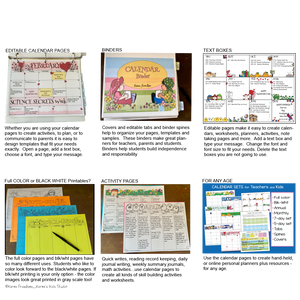 Editable SCHOOL CALENDARS for Teachers and Students _ NEW!(Karen's Kids Printables)