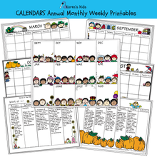 Load image into Gallery viewer, Samples of Annual, Monthly, Weekly calendar printable set.