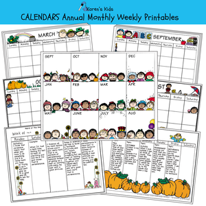 CALENDAR Annual, Monthly, Weekly Set  Editable Printables